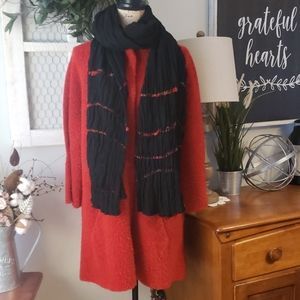 EILEEN FISHER red wool coat & scarf size large